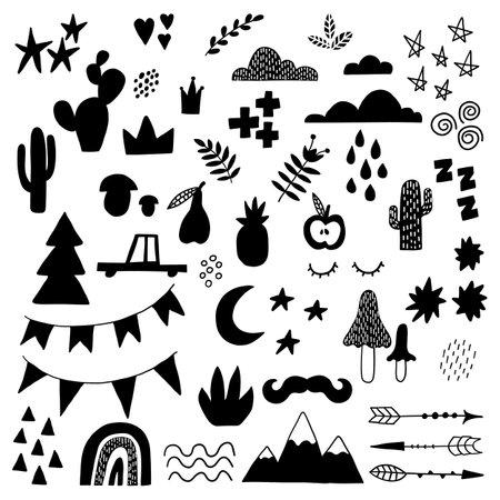 Doodle geometric abstract trendy scandinavian black shapes. Vector hand drawn monochrome elemens for kids fabric textile. Illusztráció