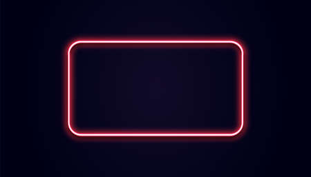 Neon rectangle banner. Vector luminous squared shape. Glow red light. Retro pink lamp on black wall