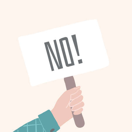 No banner in comic human hand. Correct answer sign. Right decision cartoon vector concept.