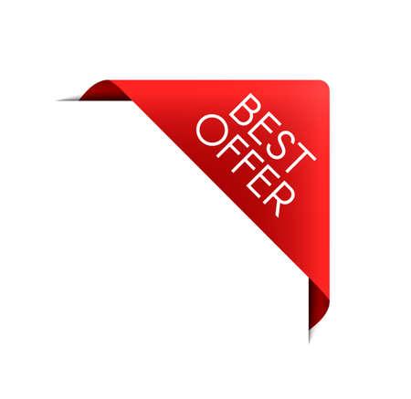 Best offer red ribbon. Vector sale label. Realistic 3D modern banner. Sale price symbol. Illusztráció
