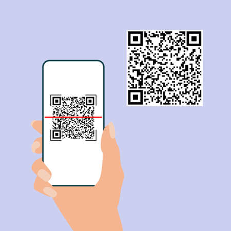 Qr code. Hand hold mobile phone scan qrcode. Camera scanning application.