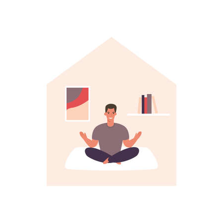 Man doing yoga. Stay home concept. Home activity.