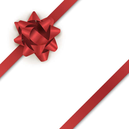 Red gift bow with ribbon for holiday card. Vector realistic ribbon isoladed on white background Illusztráció