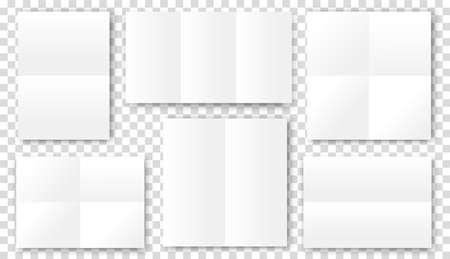 Blank folded paper sheets. Open book brochure flyer booklet template with shadow Illusztráció