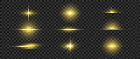 Golden glowing light. Gold glow flash with sparcle. Vector sunrise effect. Realistic shiny beam set Illusztráció