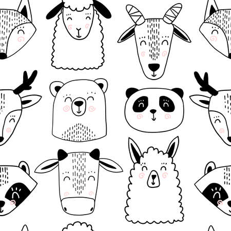 Cute scandinavian animal seamless pattern. Panda sheep goat lama bear bear deer raccoon fox animals faces for kid.