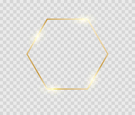 Gold shiny hexagon frane. Glowing decorative vintage octagon for birthday card or flyers