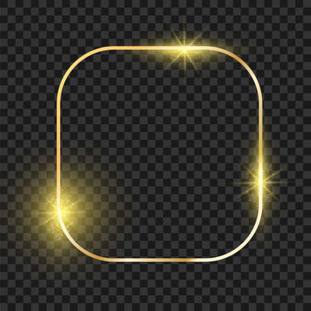 Oval golden frame. Gold magic christmas shiny border. Vector realistic glow boarder