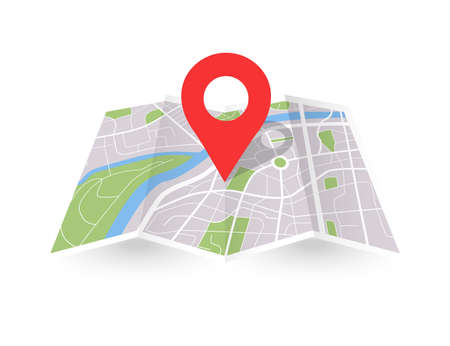 Folded city map with pin. Paper 3D location place icon. Vector gps navigation concept Illusztráció