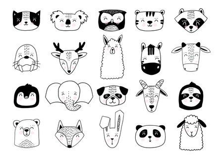 Scandinavian animals. Nordic cute animal set. Vector hand drawn panda, funny deer fox llama faces Illusztráció