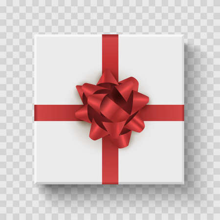 Gift box top view. Celebration prize square box with red bow. Vector realistic birthday decoration. Illusztráció