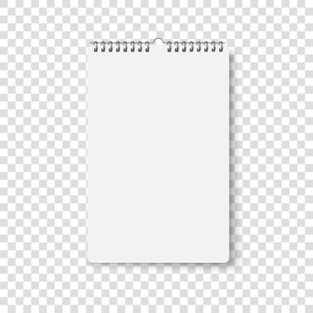 Wall calendar mockup. Spiral calender mock up. Vector realistic office template. Empty sheet poster on wall Illusztráció