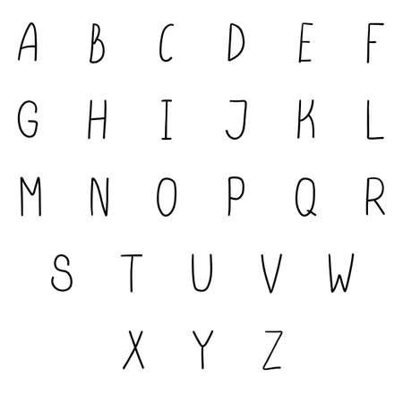 Simple narrow alphabet. Thin handwritten doodle font. Vector handdrown letters