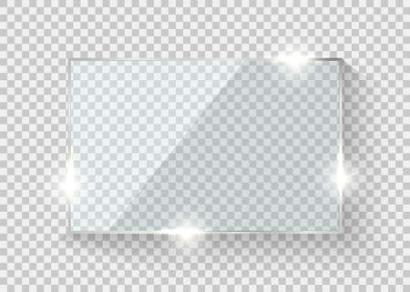 Glass frame. Rectangle reflection transparent board. Vector screen realistic 3D display. 矢量图像