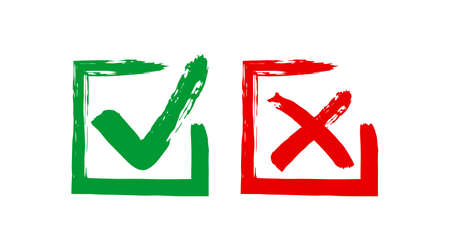 Grunge sqare checkmark box. Yes or no check mark. Red and green vector checkbox 矢量图像
