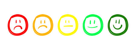Good bad review. Sketch face rating. Vector hand drawn feedback faces set. Happy sad neutral expression