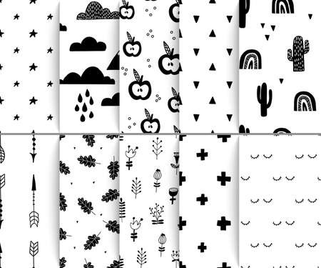 Scandinavian seamless patterns. Endless hand drawn decorative monochrome design for textile. Vector repeat abstract elements. 矢量图像