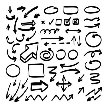 Doodle shapes. Arrows sketch elements. Vector cartoon frames. Hand drawn set of icons and frames