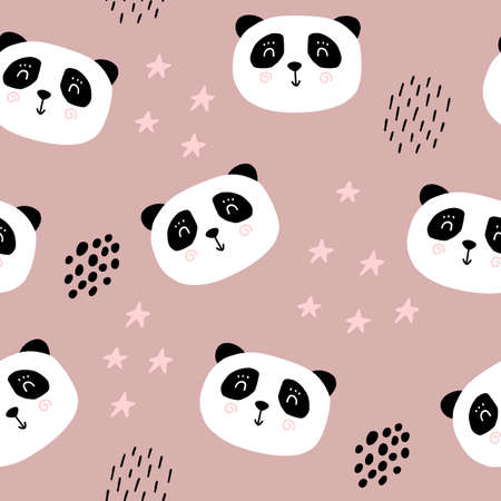 Cute panda bear seamless pattern. Cartoon baby print. Vector illustration scandinavian doodle bear.