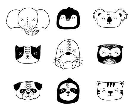 Scandinavian animals. Nordic cute animal set. Vector hand drawn panda, funny deer fox llama faces 矢量图像