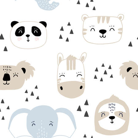 Seamless kids pattern with cute animals faces.