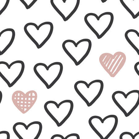 Hand drawn heart seapless pattern. Cute love romantic vector repeat print. Black and pink sweet trendy hearts ornament for textile