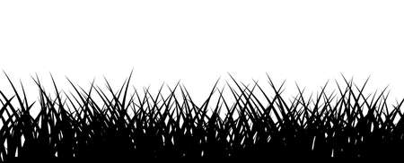 Grass border. Black lawn horizontal illustration. Vector monochrome backdrop 矢量图像