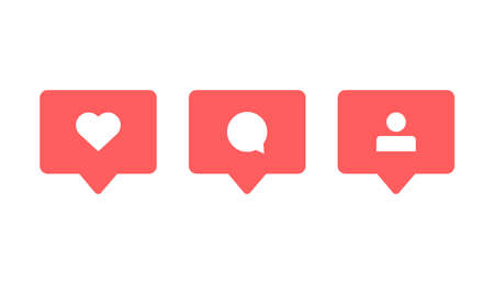 Follow like comment social media icon. Notification red button. Vector flat modern bubble. 矢量图像