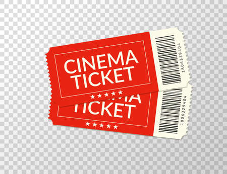 Cinema ticket. Movie two realistic red coupon. Vector pair vintage admission ticket.