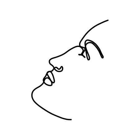 Continuous line woman face. Beauty hand drawn linear art. One line minimalistic . Vector spa salon emblem