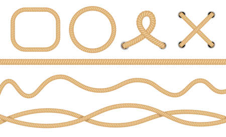 Nautical loops. Vector knots for rope. Realistic knot round and square borders. Marine ropes