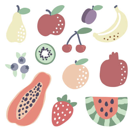 Doodle tropical fruit. Papaya watermelon orange strawberry summer food. Vector vegetarian banana kiwi blueberry sticker set.