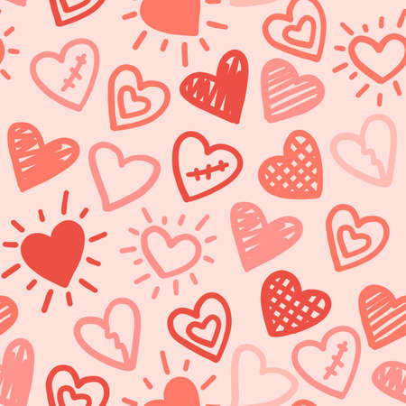 Hearts seamless pattern. Vector love red pink hand drawn background. Valentines day wedding romantic print