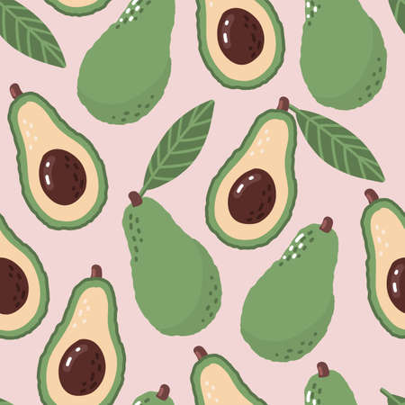 Avocado pattern. Vegetable seamless green organic summer print. Cartoon repeat fabric exotic pink backdrop.