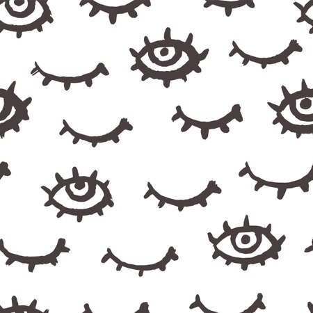 Eye seamless pattern. Grunge doodle makeup fashion print. Black and white simple minimal stylish wallpaper