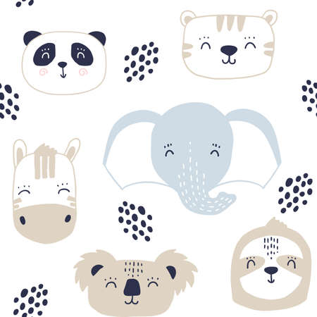 Seamless kids pattern with cute animals faces. Cartoon hand drawn baby print with panda zebra tiger elephant koala sloth 矢量图像