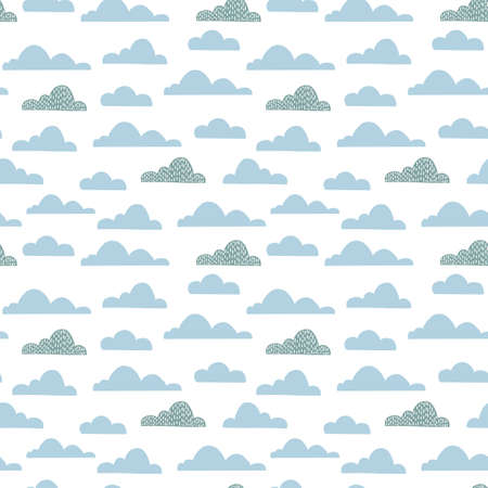 Cloud seamless pattern for children nurcery room. Vector funny child sky print.