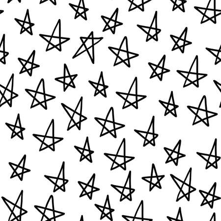 Star seamless pattern. Outline sketch black childish cosmos repeat backdrop.