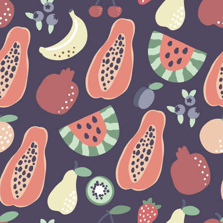 Fruit pattern. Papaya banana watermelon seamless pattern. Vector summer tropical print for t shirt design.
