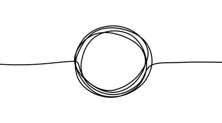 Circle doodle line shape. Vector round sketch hand drawn scribble outline stroke.