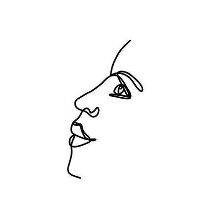 One line drawing woman face. Continious aesthetic line portrait. Vector line art logo. 矢量图像