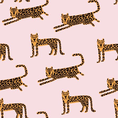 Leopard seamless pattern. Wild animal leopard print. Cartoon funny gepard. Trendy repeat artwork