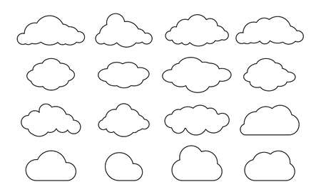Outline clouds. Line cloud shape set. Vector black sky pictogram. Thin line datdbase icon