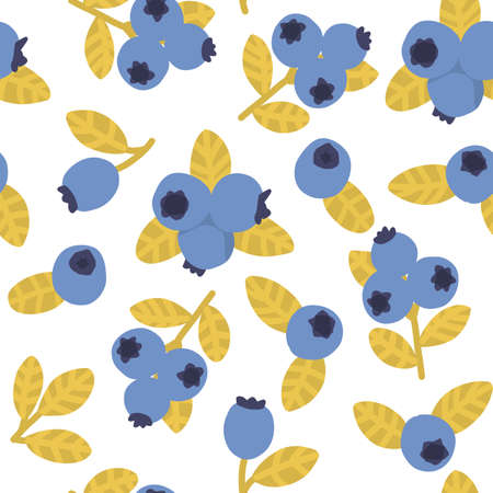 Blueberry seamless pattern. Blue berry summer print. Hand drawn food fabric print. 矢量图像