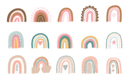 Pastel boho rainbow. Cute hand drawn modern stickers for nursery. Childish colorful clipart. Vector decorative illustration