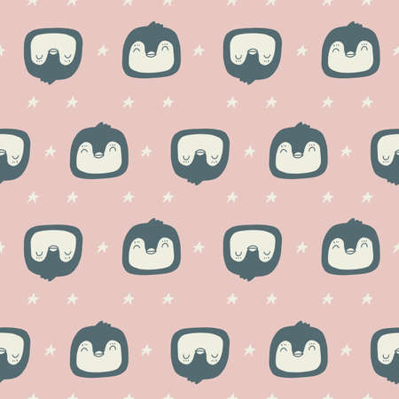 Penguin seamless pattern on pink background. Animal repeat fabric template. Vector cartoon textile illustration for kids apparel design. Doodle nursery print