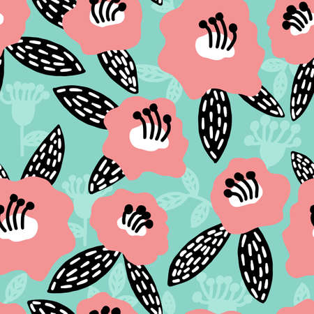 Floral simple seamless pattern. Big pink whimsical flower. Simple scandinavian slyle repeat print for textile or wrapping paper