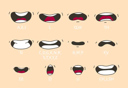 Cartoon talking mouth and lips expressions. Talking mouths lips for cartoon character animation.