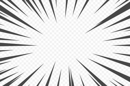Action comic cartoon speed effect. Black manga movement anime manga flash. Superhero motion radial line. Vector boom rays. Power halftone bang wallpaper