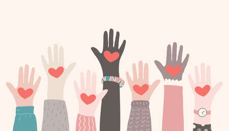 Raised hands volunteering. Charity partnership concept. Multiracial hands with hearts reaching up 向量圖像